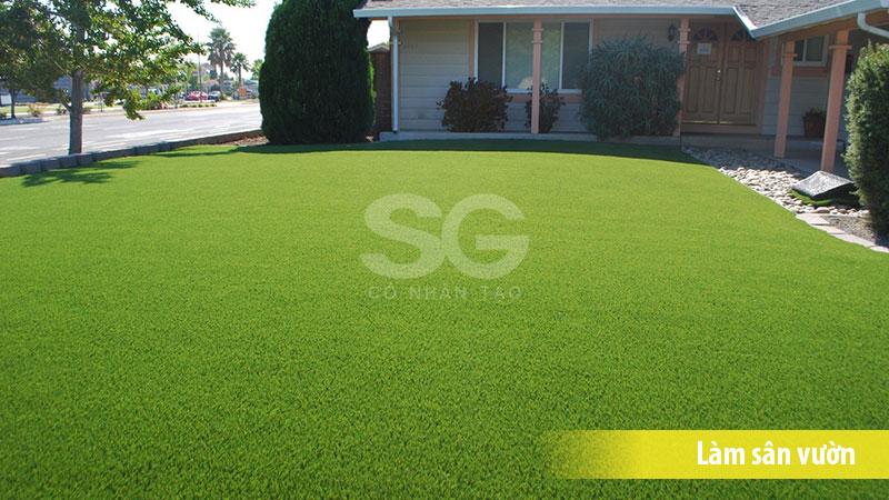 Cỏ nhân tạo 2cm sử dụng trải thảm cỏ sân vườn