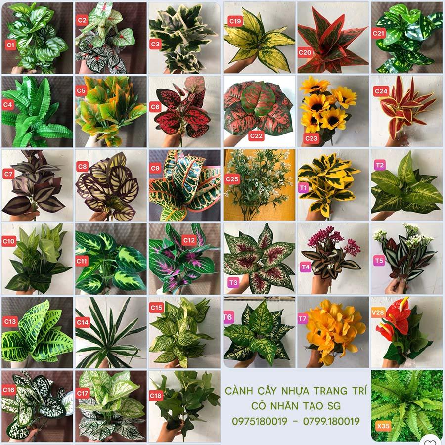 Cành cây lá nhựa trang trí